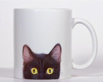 Cat, Cat Mug, Black Cat Mug, Add Text of Your Choice, Personalized Cat Gift