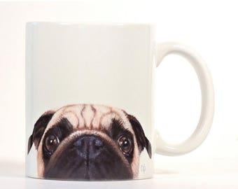 Pug Mug, Pug Coffee Mug, Fawn Pug Mug, Pug Lover Gift, Customized Pug Mug