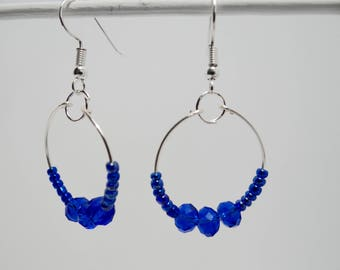 Silver Hoops with Deep Blue Faceted Rondelles