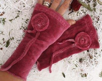 Pink velvet gloves, Pink arm warmers, Velvet fingerless gloves, Pink wrist warmers, Pink fingerless gloves, Pink velvet, Fingerless gloves