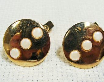 Swank Cuff Links White Bead Round Circular Gold Tone