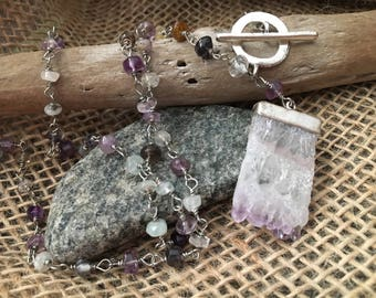 Purple gemstone front clasp necklace