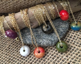 Acrylic Marbled Round Bead Charm Chain Necklace
