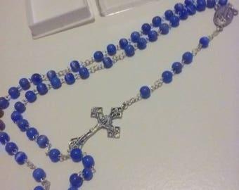 Stunning Cobalt Blue Catseye Stones colored Beaded Handmade Fatima Catholic Rosary