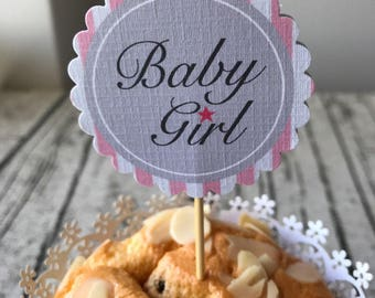Set of 12 baby girl cupcake topper • it's a girl baby shower party cake decorations