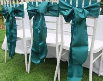 50x Teal Blue Satin Chair Sashes for Wedding Engagement Event Reception Ceremony Function Bouquet Christening Baptism