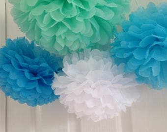 16pcs Mixed Size Green Blue White Tissue Paper Pom Pom • 21st Birthday Boy's First Birthday Party • Boy Baby Shower Graduation Decorations
