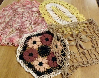 Vintage Crochet Doilies Mixed Lot of 4 Farmhouse Collection Ships Free in USA Next Day