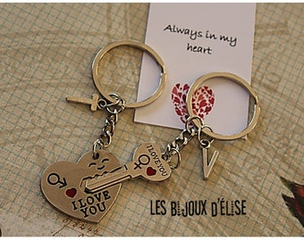 Set of 2 Heart and Skeleton Key Keychains His and Hers Couple Keychains Best Friends Keychains Valentine's Keychains (KC26)