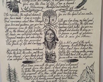 Native American Artist Signed Nakoma Volkman 1991 Poetry, 11 x 14 in Father Spirit Tree Life Buffalo Stag Animal Totem Prayer, Peace Sage