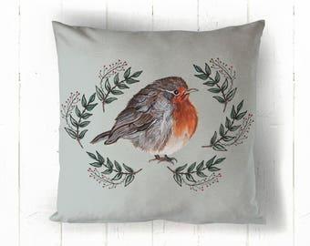 Robin Cushion, Animal Cushion, Bird Illustration, New Home Gift