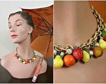1950s Fruit Necklace / Vintage / Early plastics / Strawberries / Lemons / Oranges / Pineapples