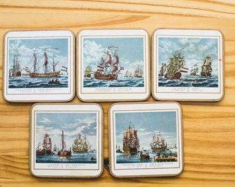 Old English Sailing Ships Coasters (set of 5)