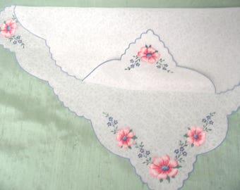 Embroidered petit point floral handkerchief / needlepoint four corner hankie