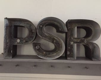 Industrial Marquee Letters, Metal, Channel Letters, Industrial Decor, P, S, R, Industrial Letters, large, free standing, black, Reclaimed