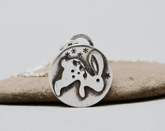 Nature Badge Sterling Silver Necklace . Rabbit. Nature. Star . Sterling Necklace.Rustic. Necklace. Mixed Metals