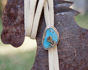 Kingman Turquoise Sterling Silver Bolo Necklace .Brass . Soft Leather . Hand Forged . Sterling Necklace.Rustic. Necklace. Mixed Metals