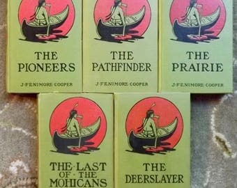 5 James Fenimore Cooper books The Pioneers, The Deerslayer, The Last of the Mohicans