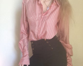 Super cute retro mid century disco 1970s vintage button up long sleeved top