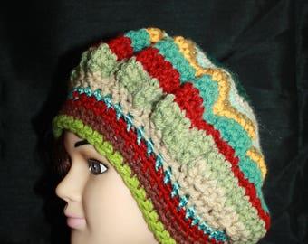 beret multicolor wool, acrylic, 3 stripes asymmetry