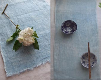 """Linen table runner, French blue, naturally dyed with woad, pale blue linen, French provincial decor, organic linen runner, wedding, 2m 78"""""""