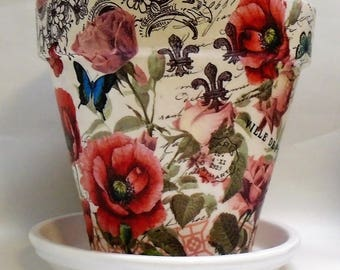 """Made To Order, Handmade Decoupage Terra Cotta Clay Pot, Paris, Floral, Butterflies,  8.25"""""""