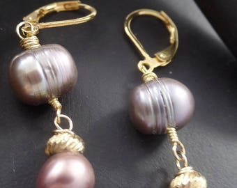 Vintage Pre World War 2 Southsea Pearl Drop Earrings