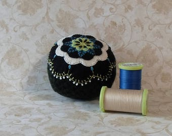 Handmade Pincushion Felted Wool Black, White, Blue and Green Flower on a Black Pincushion