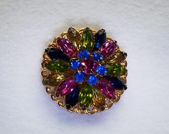 """Vintage Multi Colored Rhinestone Brooch    1 7/8"""" W x 5/8"""" H"""