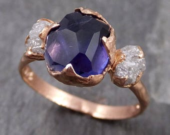 Partially Faceted Sapphire Raw Multi stone Rough Diamond 14k rose gold Engagement Ring Wedding Ring One Of a Kind violet gemstone 0717