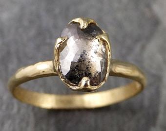 Fancy cut salt and pepper Diamond Solitaire Engagement 18k yellow Gold Wedding Ring Diamond Ring byAngeline 1050
