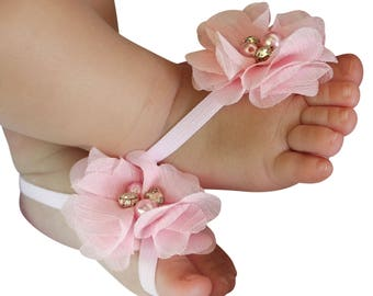 Pink Baby Sandals, Sandals for Newborn, baby girl shoes, Shoes for Little Girls, barefoot sandals, newborn sandals, baby barefoot sandal