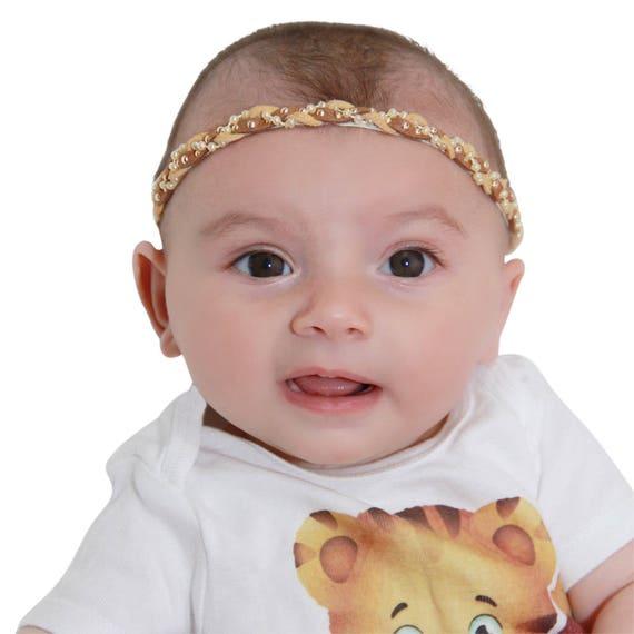Infant Headbands, Brown Headband, Baby Headband, Braided Headband, Brown Headband, Girl Headband, Braided Headband, Pearls Headband