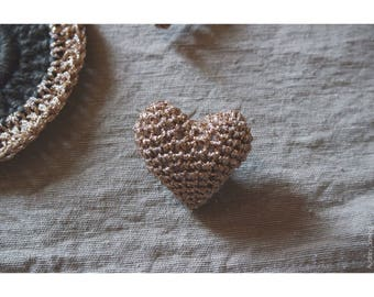 Crocheted heart brooch