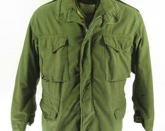 Vintage 70s M-65 Field Jacket L OG107 With Liner Vietnam Era So Sew [H36M_4-2]