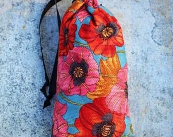 Sesh bag- retro floral padded purse stash sack