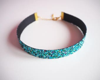 Turquoise Glitter Choker, Sparkly Turquoise Choker Necklace, Turquoise Jewellery, Sparkly Teal Glitter Choker Necklace, Turquoise Glitter,