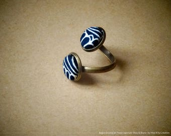 Ring Double adjustable traditional Japanese fabric Navy Blue & white
