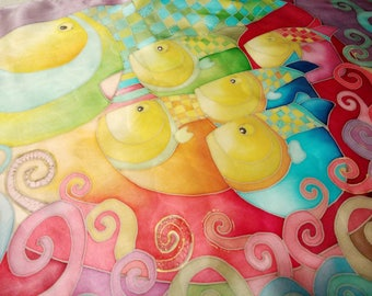 """Hand painted Silk scarf """"fish family"""""""