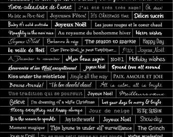 Planche de mots autocollants Le Temps des fêtes NON PRÉDÉCOUPÉS