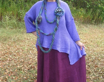 Asymmetrical handknittied Lagenlook/Bohemian Tunic with long sleeves