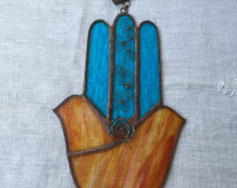 TWO DOVES HAMSA Hand,Stained Glass-Orange and Pale Blue Colors with beads, wall hanging