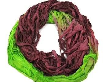 SALE New! Sari Silk Ribbon, 100g ,Lime / Bordeaux