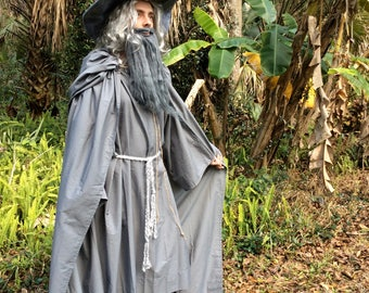 Gandalf The Gray or White Costume Flowing hooded Cape and separate Robe with Wizard Hat Cosplay