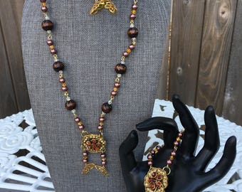 Vintage Brown and Gold Butterfly Jewelry Set