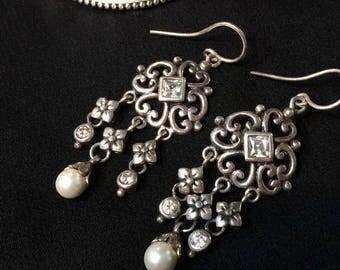 Sterling Silver Chandelier Earrings, Vintage Earrings, Cubic Zirconia and Pearls, Bridal Earrings