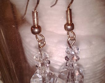 NEW ITEM! Vintage, hand made mulitple crystal dangle, drop pierced earrings. Silver tone ear wires and connectors.
