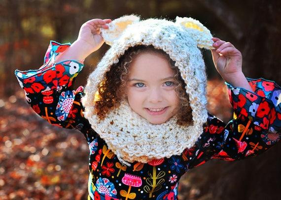 Fuzzy Snow Bear Hood, Cowl Neckwarmer