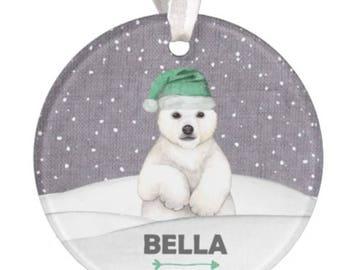 Polar Bear Ornament, Personalized Christmas Ornament, Bear Ornament, Christmas Ornament,Polar Bear, Gift, RyElle, Christmas Gift, Ornament