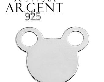 Charm connector mouse mickey in 925 sterling silver